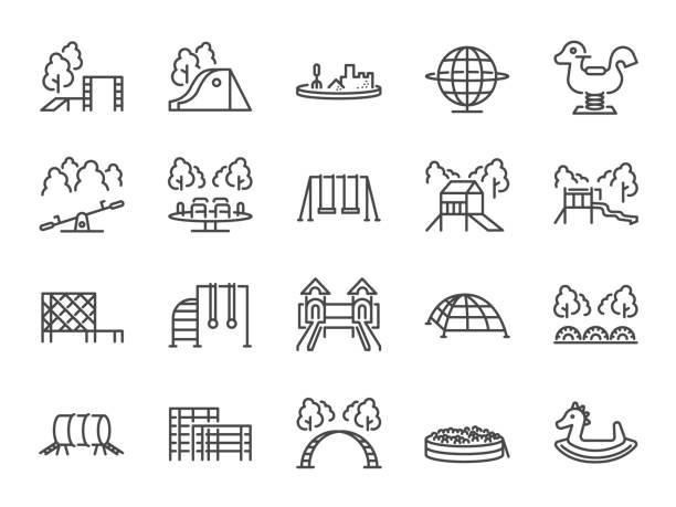 ilustrações de stock, clip art, desenhos animados e ícones de playground icon set. included icons as kids outdoor toy, sandbox, children parks, slide, monkey bar, dome climber, jungle gym and more. - balouço