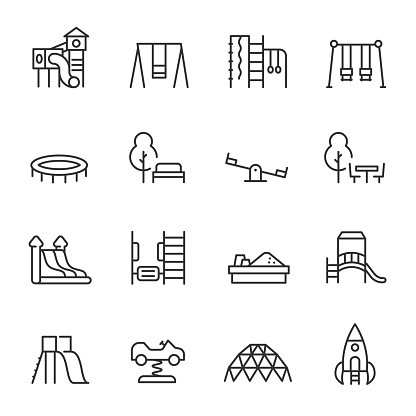 Playground, icon set. Play area for children outdoors, linear icons. Line. Editable stroke