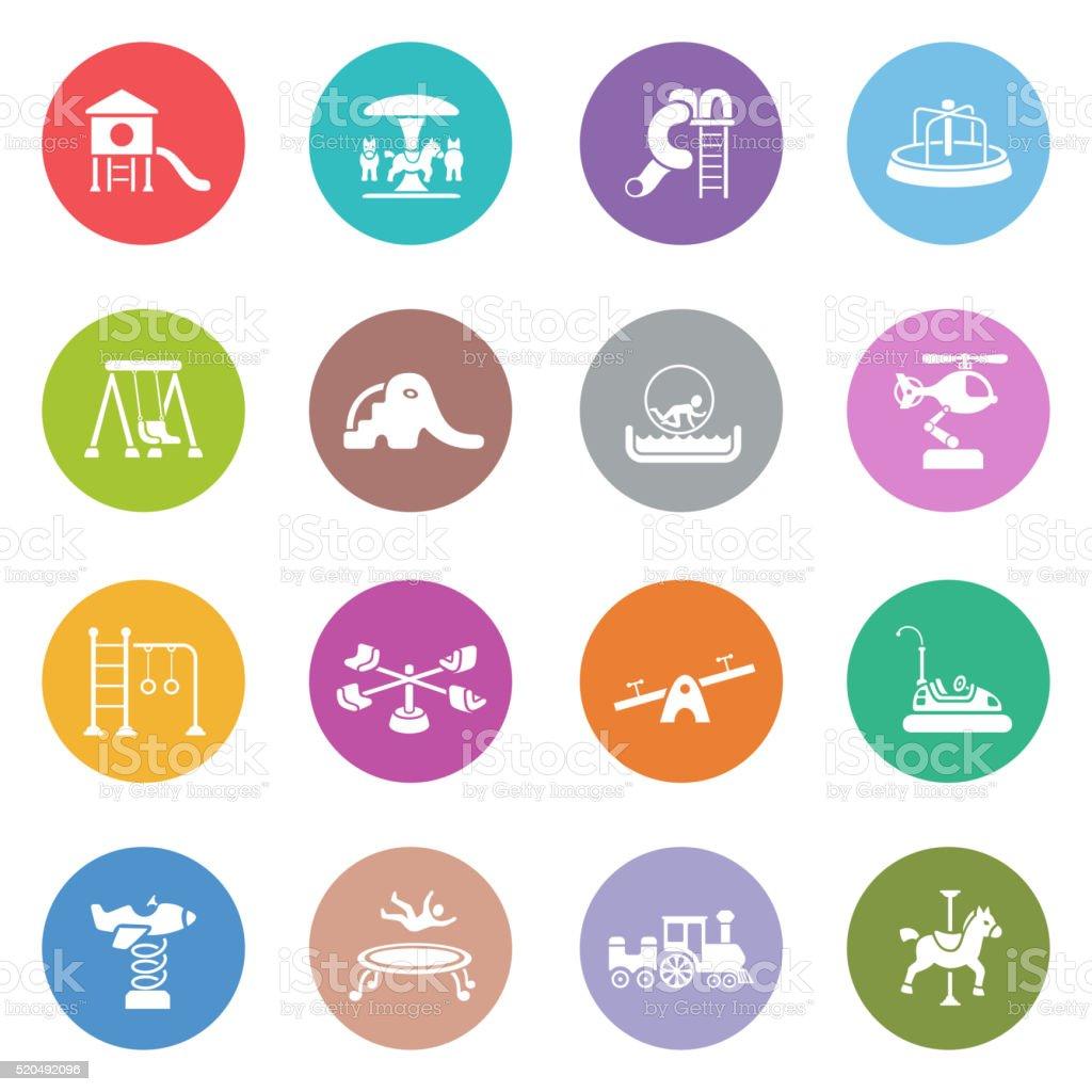 Icono conjunto zona juegos - ilustración de arte vectorial
