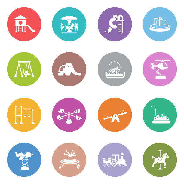 playground icon set - recess stock illustrations, clip art, cartoons, & icons