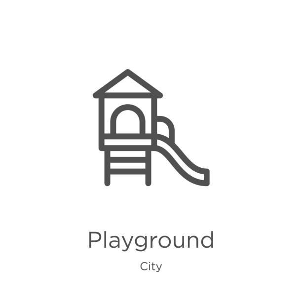 stockillustraties, clipart, cartoons en iconen met speeltuin icoon vector uit de stad collectie. dunne lijn speeltuin overzicht icoon vector illustratie. outline, dunne lijn speeltuin icoon voor website design en mobiele, app ontwikkeling. - speeltuin