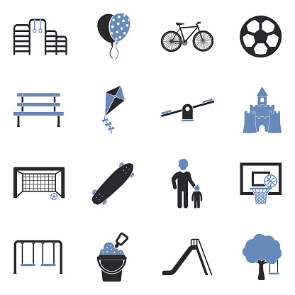 Playground Icons. Two Tone Flat Design. Vector Illustration.