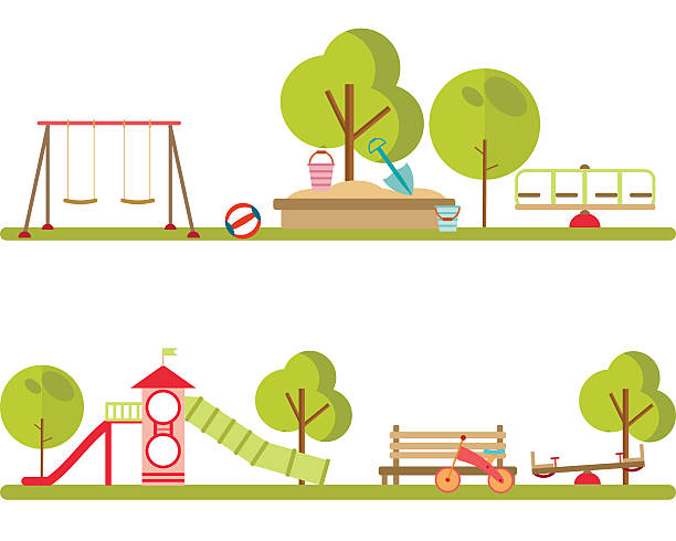 playground infographic elements vector. - recess stock illustrations, clip art, cartoons, & icons