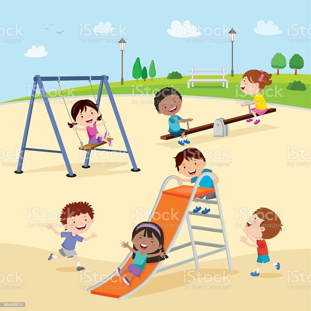 Playground. Kids at the playground.