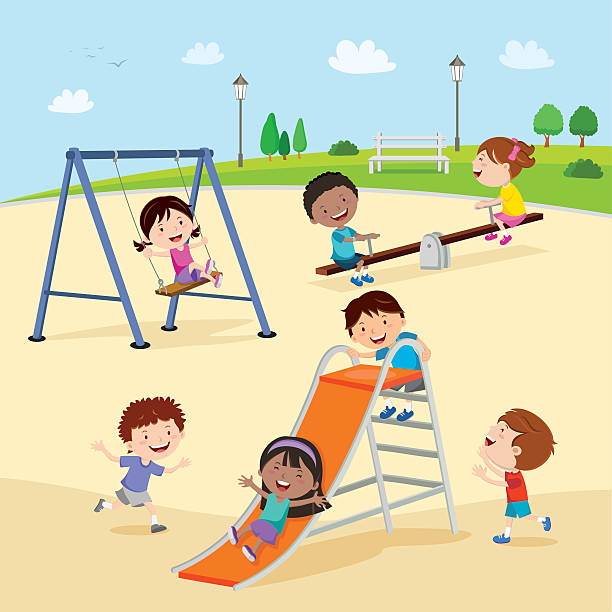 Playground. Kids at the playground. vector art illustration