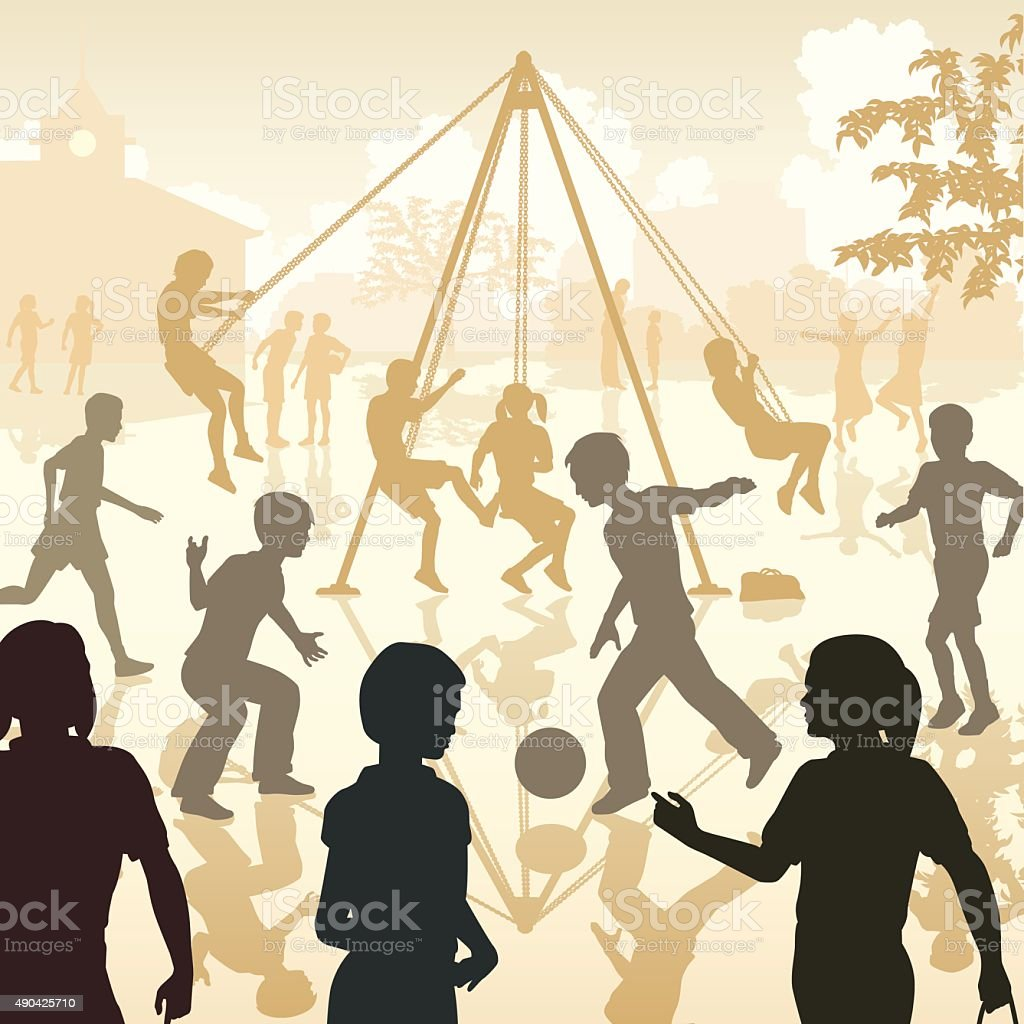 Playground kids vector art illustration
