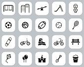 istock Playground Or Park Icons Black & White Flat Design Set Big 1222369487