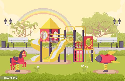 Playground structure, outdoor decor idea of school or public park with equipment for recreation, kid fun kit in schoolyard, city playpark architecture. Vector flat style cartoon illustration