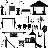 Playground Park Garden Equipment Silhouette Vector