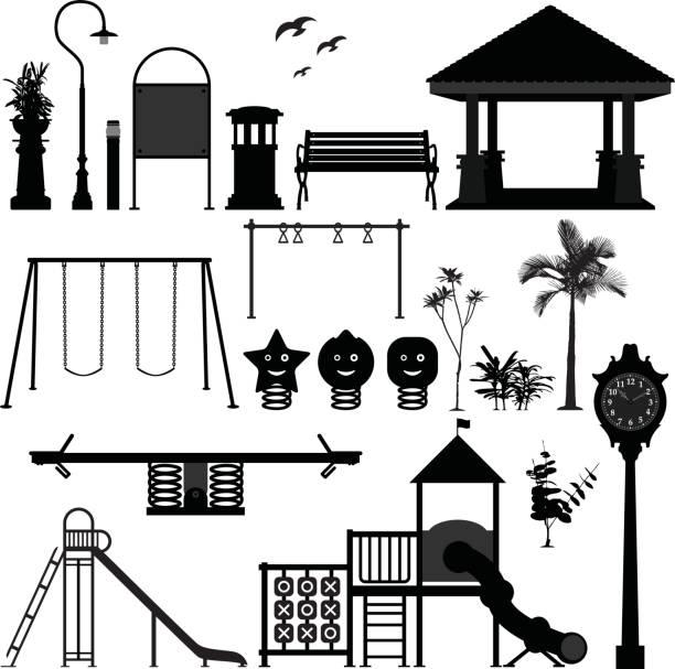 ilustrações de stock, clip art, desenhos animados e ícones de playground park garden equipment silhouette vector - balouço