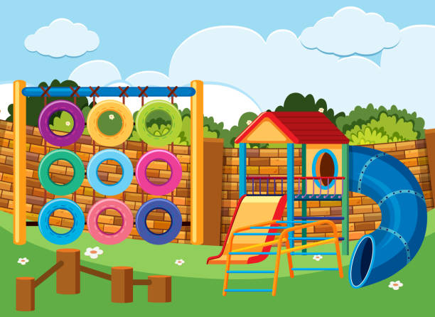 playground scene with climbing station and slides - monkey bars stock illustrations, clip art, cartoons, & icons