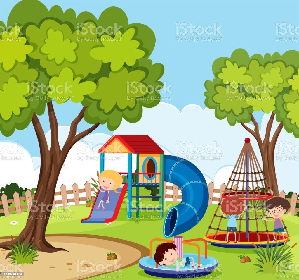 Ilustración de Escena De Patio Con Muchos Niños Jugando y más banco ...