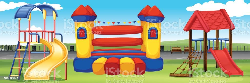 Playground scene with many stations vector art illustration