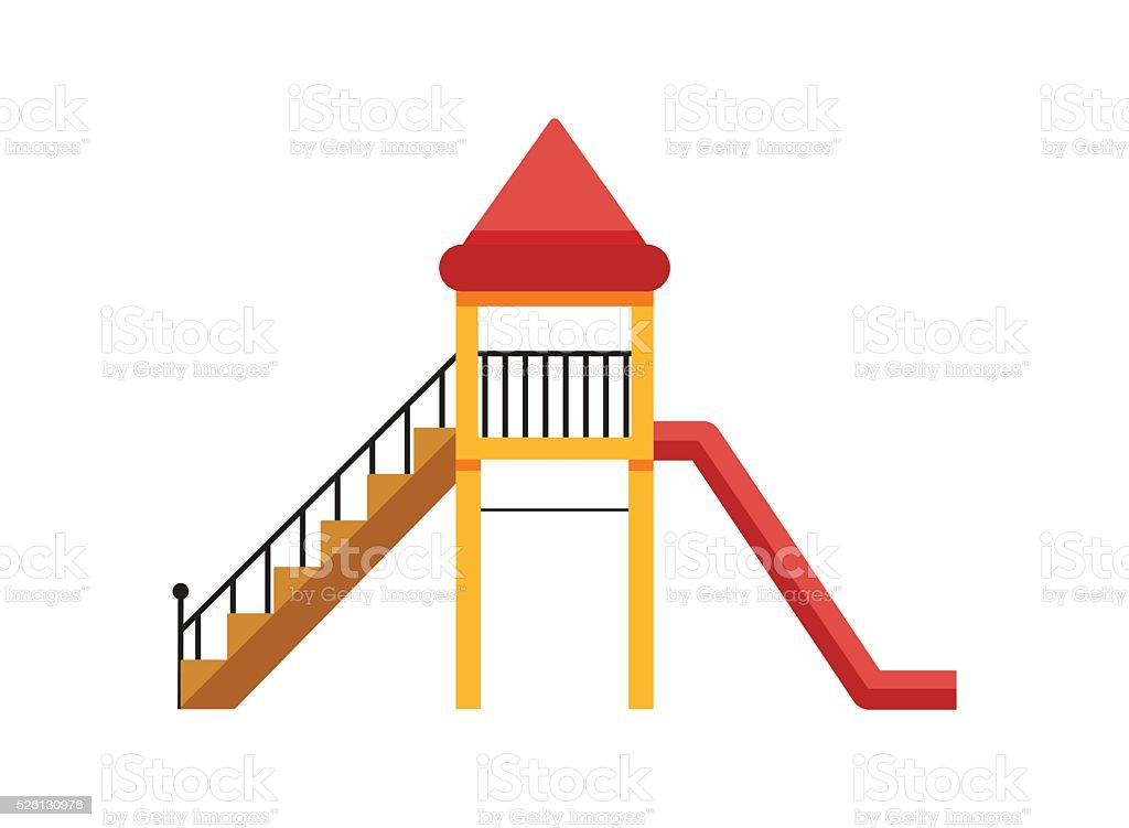 Playground slide. Isolated On White Background. vector art illustration