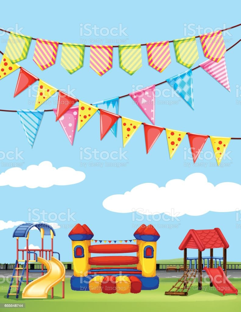 Playground with many play stations vector art illustration