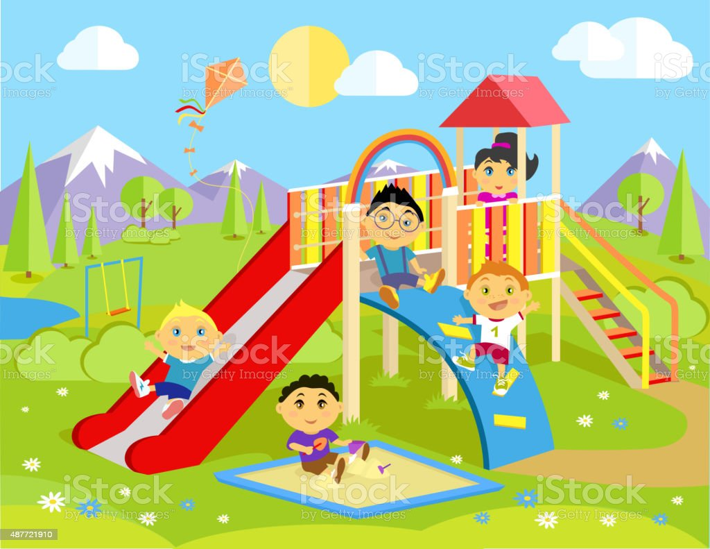 Royalty Free Outdoor Play Equipment Clip Art Vector