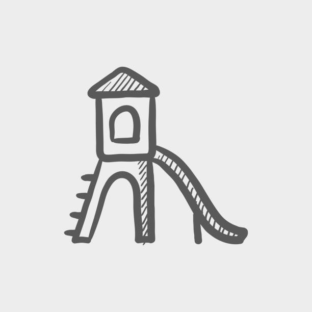 Playground with slide sketch hand drawn doodle icon vector art illustration