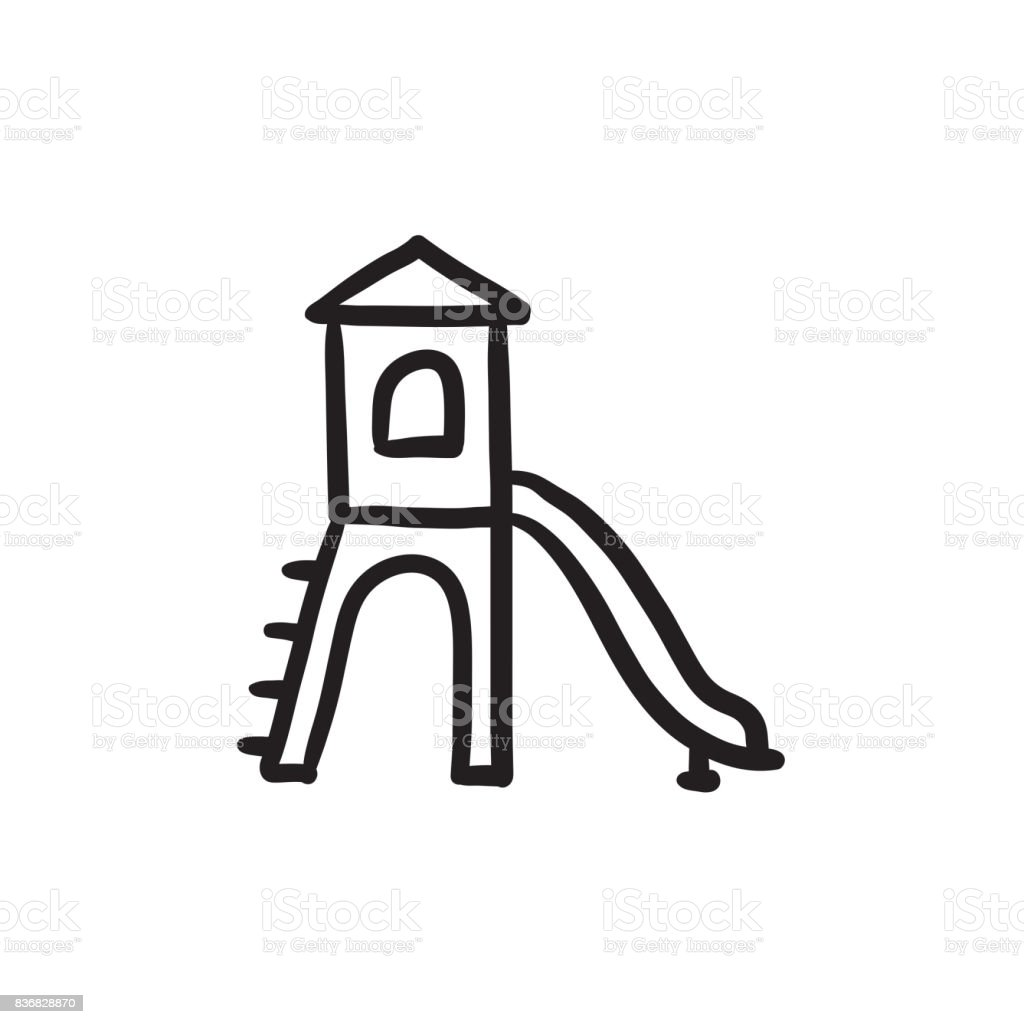 Playground with slide sketch icon vector art illustration