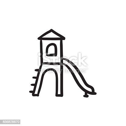 Terrain de jeu de dessin ic ne avec toboggan vecteurs - Dessin de toboggan ...