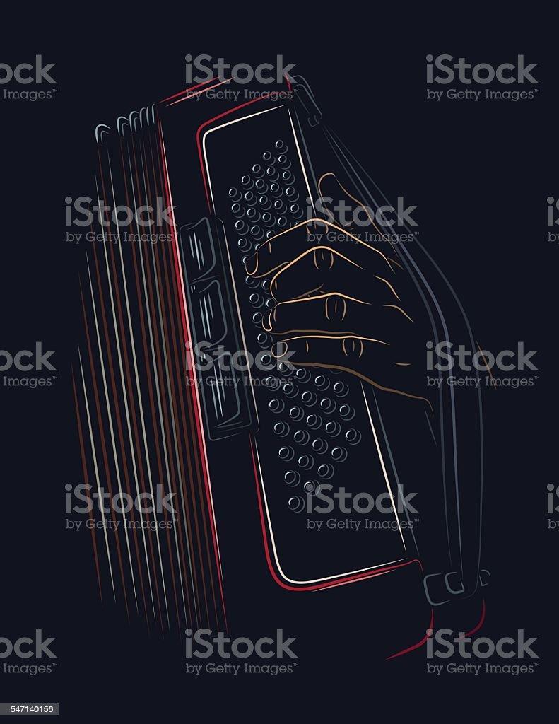 Jugando acordeón - ilustración de arte vectorial