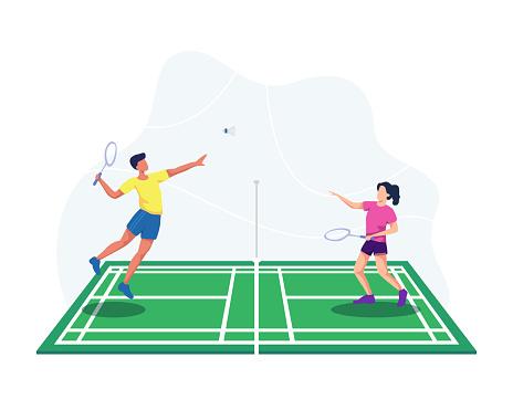 Playing badminton illustration