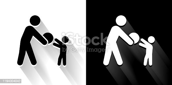 istock Playing  Black and White Icon with Long Shadow 1194004042