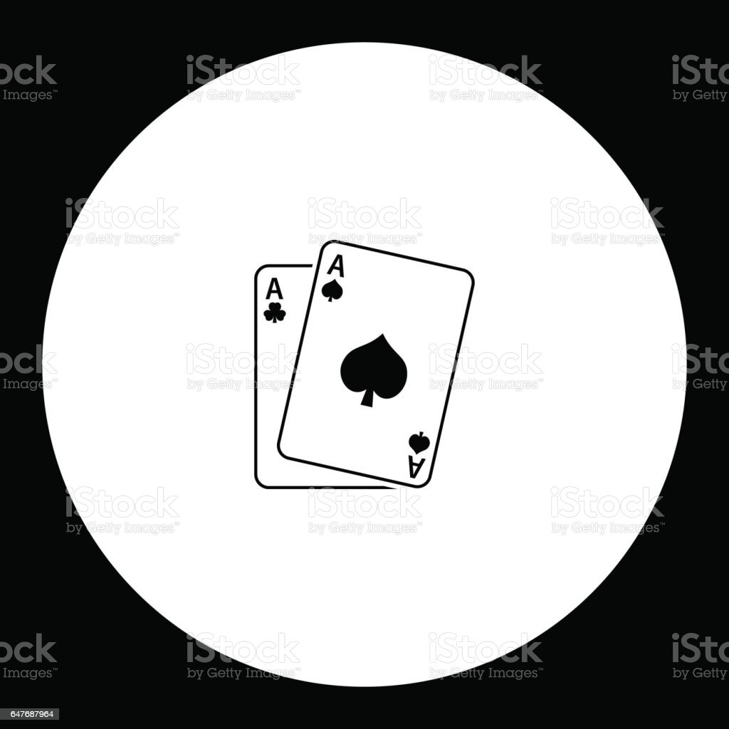 playing card aces black simple icon eps10 vector art illustration