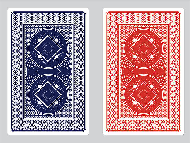 Playing Card Back Designs Blue and Red Playing Card Backs. EPS 8 Format back stock illustrations