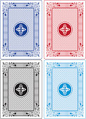 Playing Card Backs Set of Four Different Colors