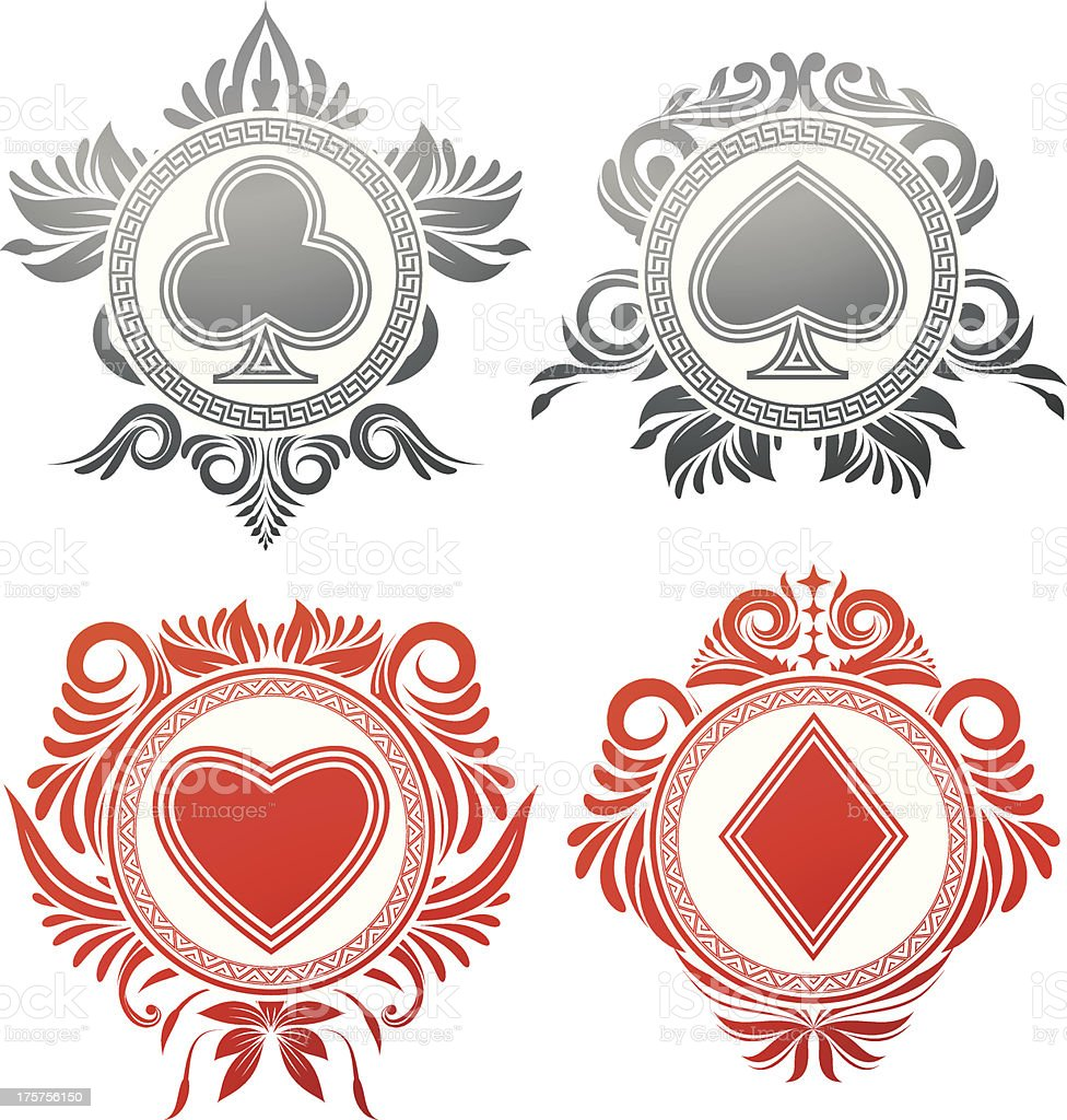 Playing Card Circle Ornament royalty-free stock vector art