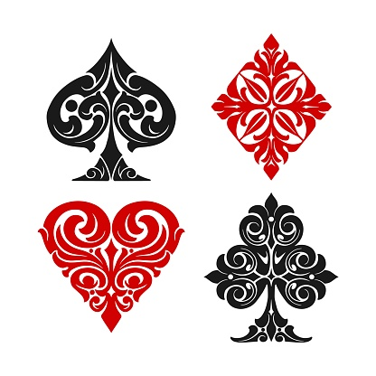 Playing card elegant suits colorful set