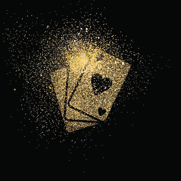 Playing card gold glitter art concept illustration Poker cards symbol concept illustration, gold playing card deck icon made of realistic golden glitter dust on black background. EPS10 vector. poker stock illustrations