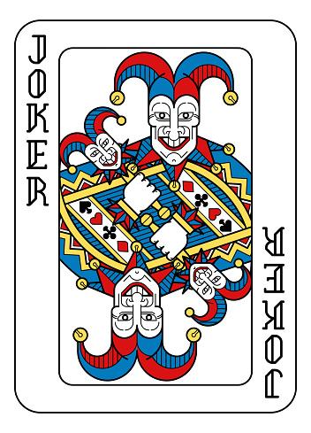 Playing Card Joker Yellow Red Blue Black