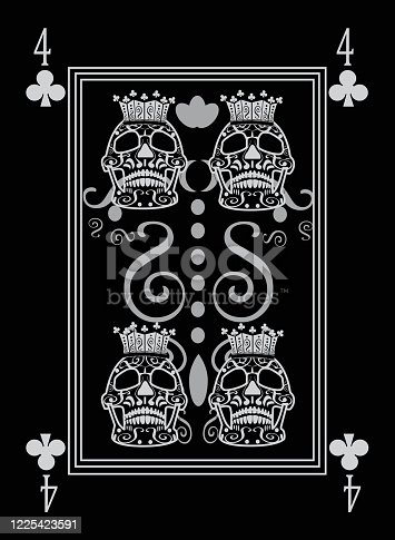 istock Playing card number 4 clubs. Ornament skull black and white. 1225423591