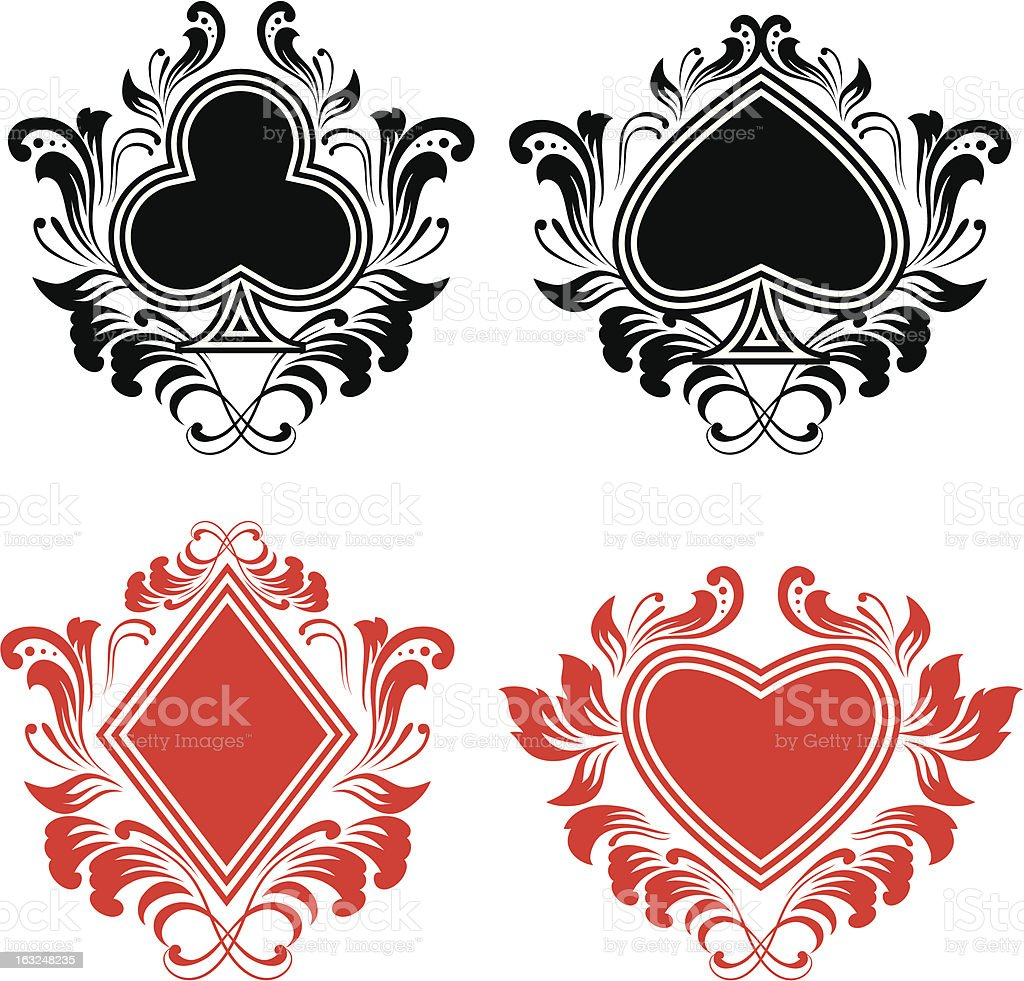 Playing Card Ornament vector art illustration
