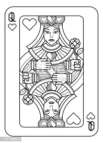 A playing card Queen of hearts in black and white from a new modern original complete full deck design. Standard poker size.