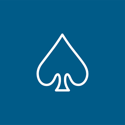 Playing Card Spade Line Icon On Blue Background. Blue Flat Style Vector Illustration