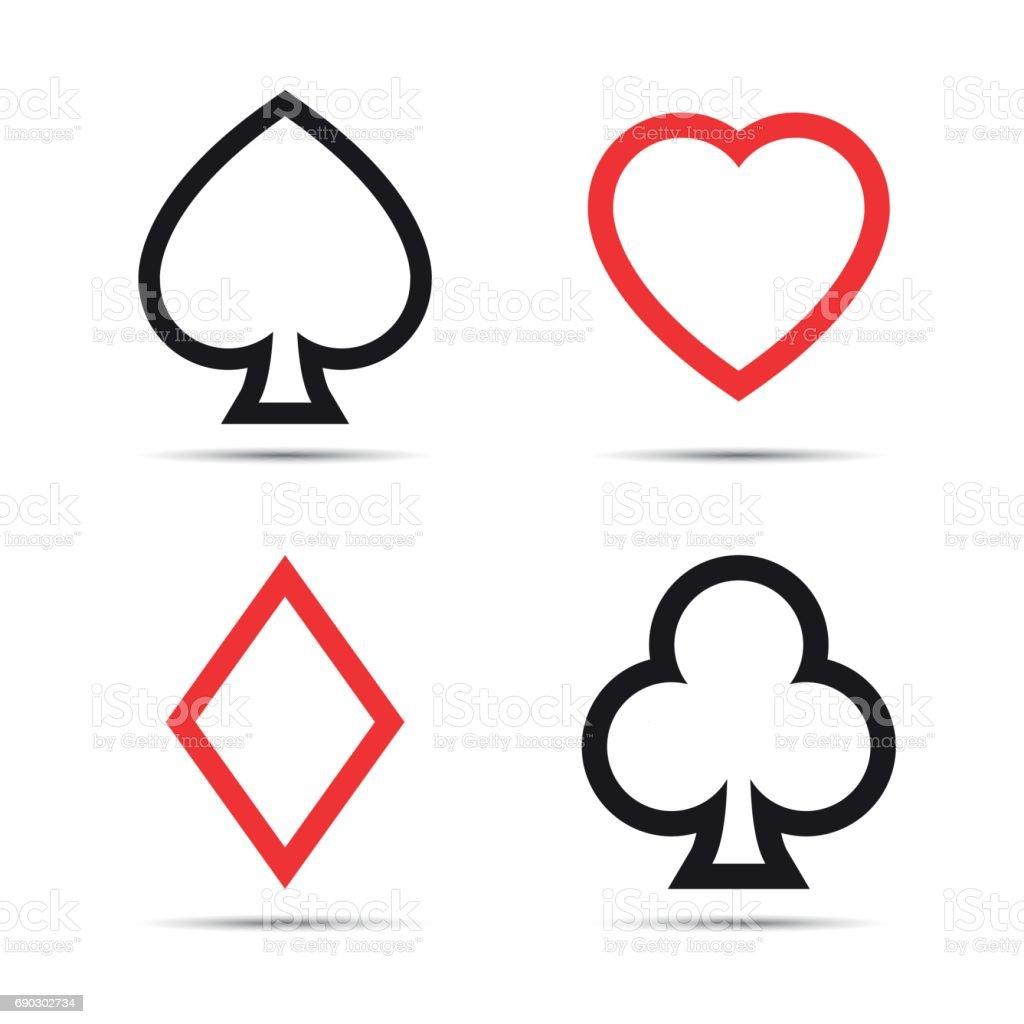 Playing card symbols isolated on white background vector art illustration