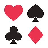 Playing card symbols set in modern simple style. Isolated vector illustration.