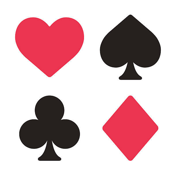 Playing card symbols set Playing card symbols set in modern simple style. Isolated vector illustration. poker stock illustrations