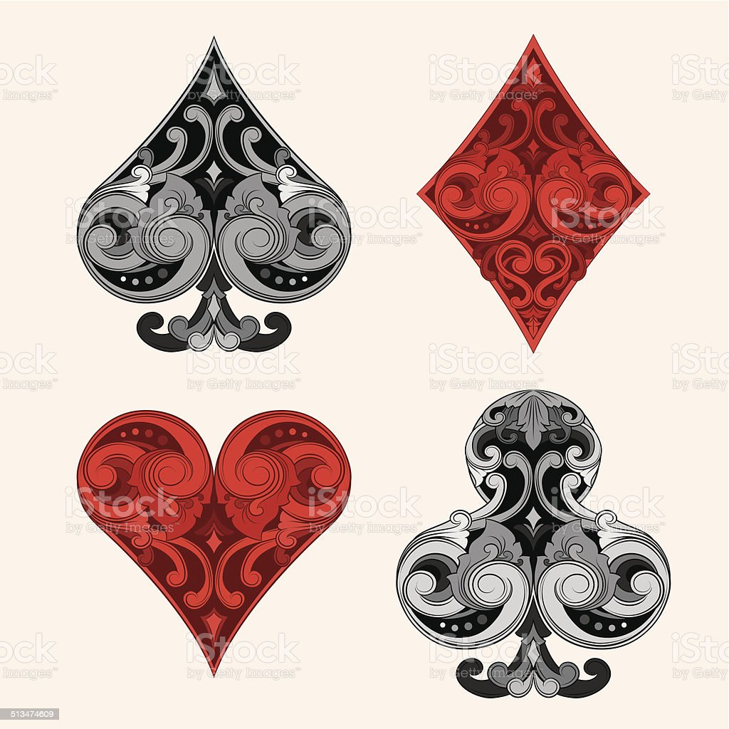 Playing Card Vintage Ornament vector art illustration