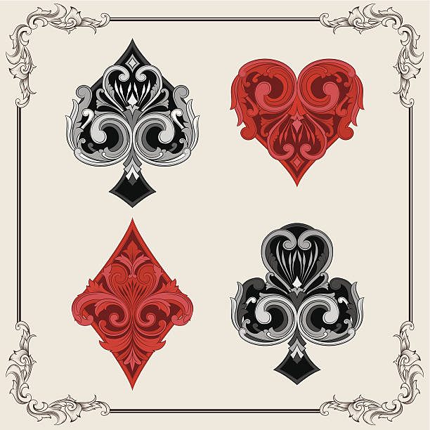 Playing Card Vintage Ornamental vector art illustration