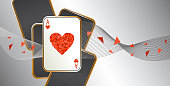 Playing card.Banner with one heart ace in four playing cards