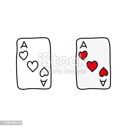 cartoon drawing of an ace of hearts card