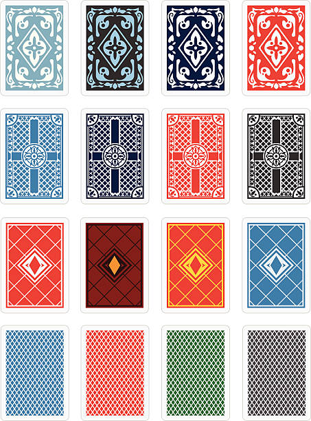 Playing Cards Back Design Set vector art illustration
