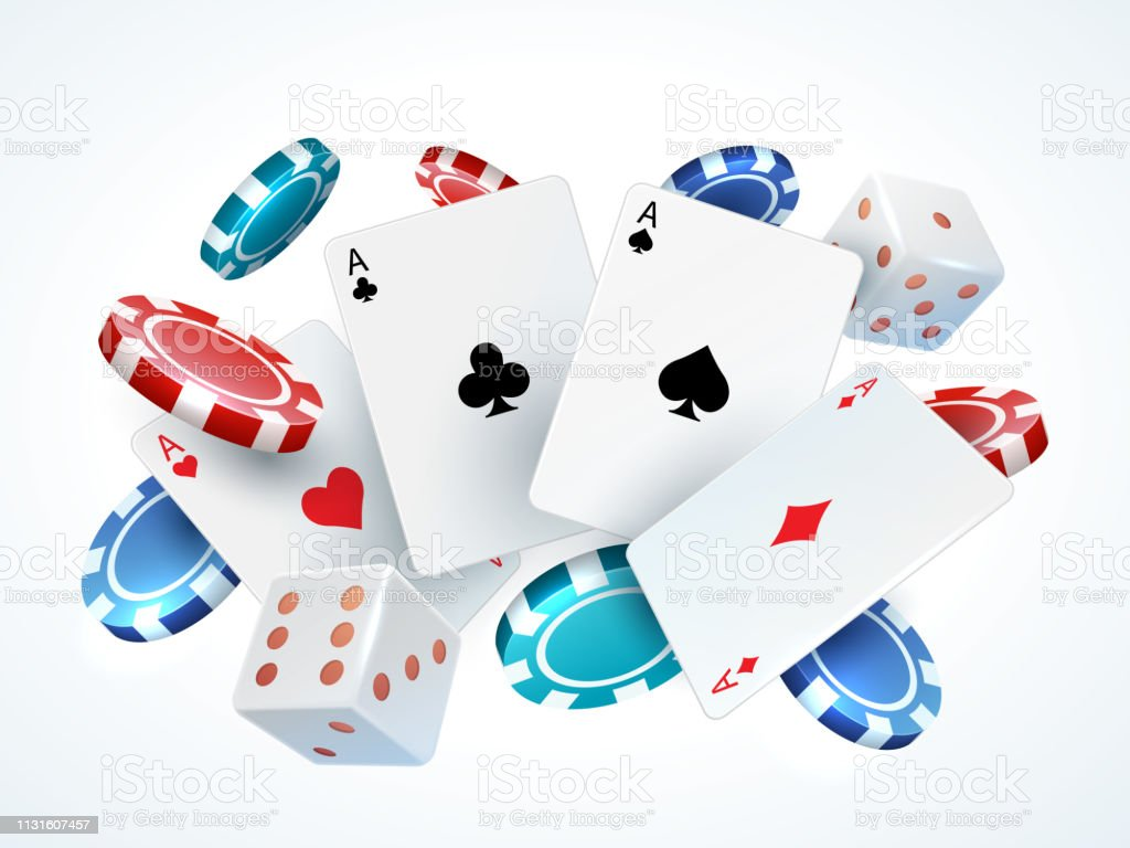 Playing Cards Chips Dice Casino Poker Gambling Realistic 3d Falling Cards And Chips Isolated On White Vector Poker Cards Stock Illustration Download Image Now Istock