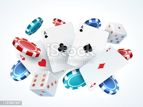 Playing cards chips dice. Casino poker gambling realistic 3D falling cards and chips isolated on white. Vector poker cards set