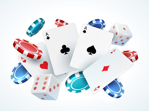 Playing cards chips dice. Casino poker gambling realistic 3D falling cards and chips isolated on white. Vector poker cards