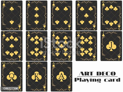 istock Playing cards club suit. Poker cards original design art deco style. Vector illustration 1086327396