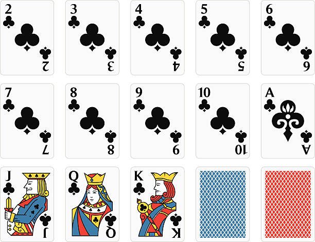 Playing Cards Clubs Set vector art illustration
